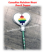 In The Hoop Canadian Rainbow Heart Pencil Topper Embroidery Machine Design