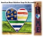 In The Hoop American Heart Rainbow Snap On Decoration Embroidery Machine Design
