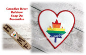 In The Hoop Canadian Rainbow Heart Snap On Decoration Embroidery Machine Design