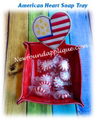 In The Hoop American Heart Snap Tray Embroidery Machine Design