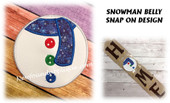 In The Hoop Snowman Belly Snap On Decoration Embroidery Machine Design