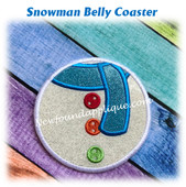 In The Hoop Snowman Belly Coaster Embroidery Machine Design