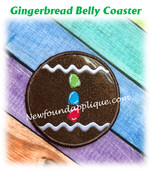 In The Hoop Gingerbread Belly Coaster Embroidery Machine Design