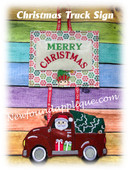 In The Hoop Christmas Truck Door Sign Embroidery Machine Design