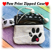 In The Hoop Zipped Case With Paw Print Embroidery Machine Design