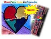 In The Hoop Heart Puzzle Snap On Decorations FREEBIE Embroidery Machine Design