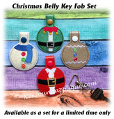 In The Hoop Christmas Belly Key Fob Embroidery Machine Design Set