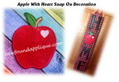 In The Hoop Apple With Heart Snap On Decoration Embroidery Machine Design