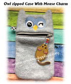 In The Hoop Owl Face Zipped Case With Mouse Embroidery Machine Design Set