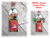 In The Hoop Mrs Claus Crayon/Treat Holder Embroidery Machine Design