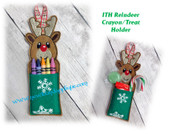 In The Hoop Reindeer Crayon/Treat Holder Embroidery machine Design