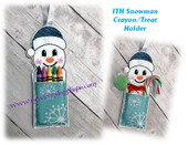 In The Hoop Snowman Crayon/Treat Holder Embroidery Machine Design
