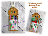 In The Hoop Gingerbread Crayon/Treat Holder Embroidery Machine Design
