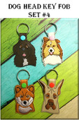In The Hoop Dog Head Key Fob Set #4 Embroidery Machine Design Set