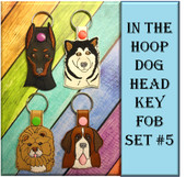 In The Hoop Dog Head Key Fob Set #5 Embroidery Machine Designs