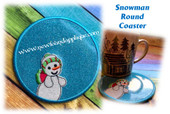 In The Hoop Snowman Round Coaster Embroidery Machine Design