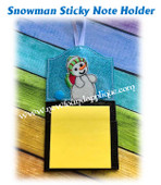 In The Hoop Snowman Sticky Note Holder Embroidery Machine Design