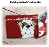 In The Hoop Bulldog Folded Card Holder Embroidery Machine Design