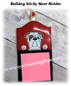 In The Hoop Bulldog Stick Note Holder Embroidery MachineDesign