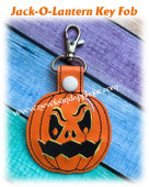 In The Hoop Jack-O-Lantern Key Fob Embroidery Machine Design