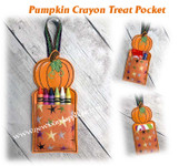 In The Hoop Pumpkin Crayon/Treat Pocket Embroidery Machine Design