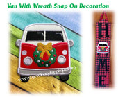 In The Hoop Van with Wreath Snap On Decoration Embroidery Machine Design
