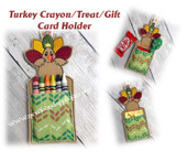 In The Hoop Turkey Crayon Treat Holder Embroidery Machine Design