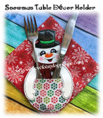 In The Hoop Snowman Table Decor Utensil Holder Embroidery Machine Design