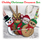In The Hoop Chubby Christmas Ornaements Embroidery Machine Design Set