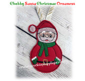 In The Hoop Chubby Santa Ornament Embroidery Machine Design