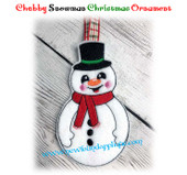 In The Hoop Chubby Snowman Ornament EMbroidery Machine Design