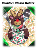 In The Hoop Reindeer Table Decor Utensil Holder Embroidery Machine Design