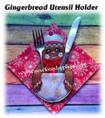 In The Hoop Gingerbread Table Decor Utensil Holder Embroidery Machine Design