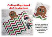 In The Hoop Peeking Gingerbread Applique Add On Embroidery Machine Design