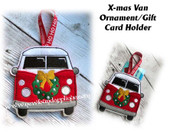 In the Hoop X-mas Van Ornament/Gift Card Holder Embroidery Machine Design