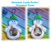 In The Hoop Snowman Treat Pocket Picture Frame Ornament Embroidery Machine Design