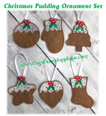 In The Hoop Christmas Pudding Ornament Set Embroidery Machine Design