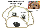 Peeking Labradoodle Applique Embroidery Machine Design