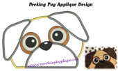 Peeking Pug Applique Embroidery Machine Design