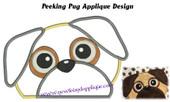 Peeking Pug Applique Embroidery Machine Design