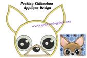Peeking Chihuahua Applique Embroidery Machine design