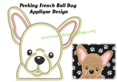 Peeking French Bull Dog Applique Embroidery Machine Design