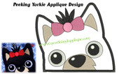 Peeking Yorkie Applique EMbroidery Machine Design
