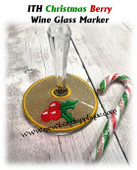 In The Hoop Christmas Berries Wine Glass Marker Embroidery Machine Design