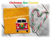 In The Hoop Christmas Van Coaster Embroidery Machine Design