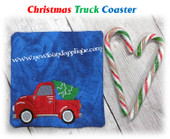 In The Hoop Christmas Truck Coaster Embroidery Machine Design