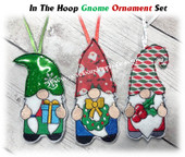 In The Hoop Gnome Christmas Ornament Embriodery Machine Design Set
