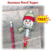 In The Hoop Snowman Pencil Topper 2019 Embroidery machine design