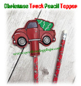 In The Hoop Christmas Truck Pencil Topper Embroidery Machine Design