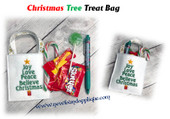 In The Hoop Christmas Word Tree Treat Bag Embroidery Machine Design
